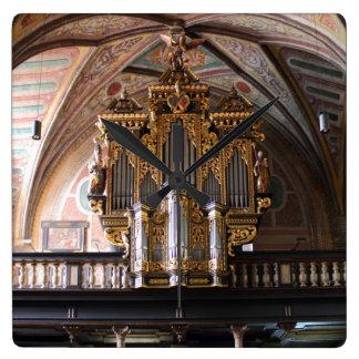 Orgel Pfarrkirche St.Wolfgang am Wolfgangsee Square Wall Clock