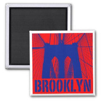 Orgullo 2 de la silueta del puente de Brooklyn Imán Cuadrado