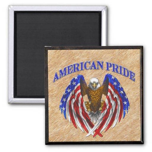 Orgullo americano Eagle Imán Cuadrado