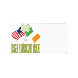 Orgullo americano irlandés etiqueta de dirección