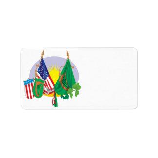 Orgullo americano irlandés etiquetas de dirección