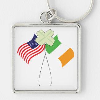 Orgullo americano irlandés llavero cuadrado plateado