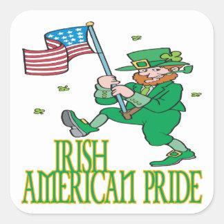 Orgullo americano irlandés calcomanias cuadradas