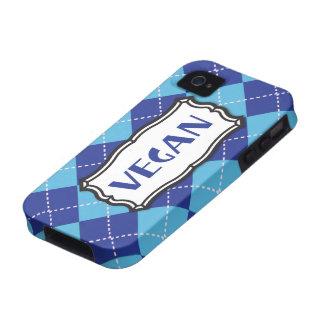 Orgullo azul del vegano de Argyle iPhone 4 Carcasas