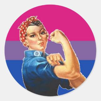 Orgullo bisexual de la mujer pegatina redonda