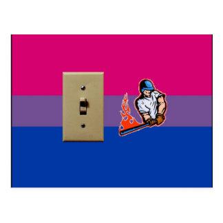 """""""Orgullo bisexual del bateador de interruptor"""" Postal"""