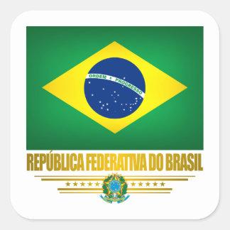 """""""Orgullo brasileño """" Calcomanías Cuadradas Personalizadas"""