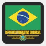 Orgullo brasileño pegatina cuadrada
