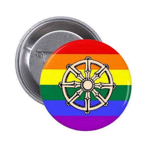 Orgullo budista gay pin redondo 5 cm