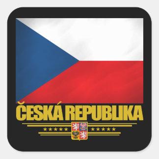 Orgullo checo pegatina cuadrada