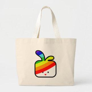 orgullo cuadrado cuadrado del arco iris del coneji bolsa tela grande