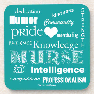 Orgullo-Cualidades de la enfermera/azul de pavo Posavasos