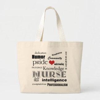 Orgullo-Cualidades de la enfermera+corazón rojo Bolsa Tela Grande
