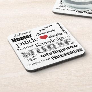 Orgullo-Cualidades de la enfermera+Corazón rojo Posavasos