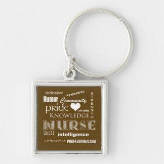 Orgullo-Cualidades de la enfermera/marrón Llaveros Personalizados