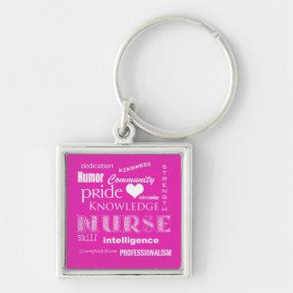 Orgullo-Cualidades/de la enfermera rosa vibrante Llaveros