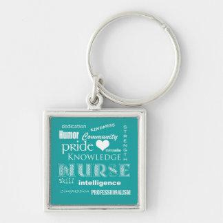 Orgullo-Cualidades/turquesa de la enfermera Llavero