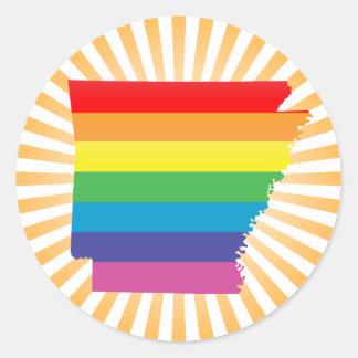 orgullo de Arkansas: rayado: Pegatina Redonda
