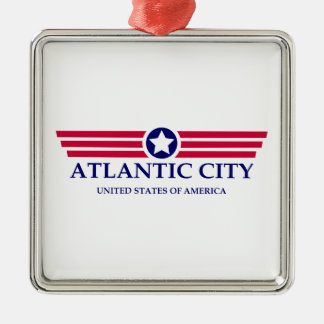 Orgullo de Atlantic City Adorno Cuadrado Plateado