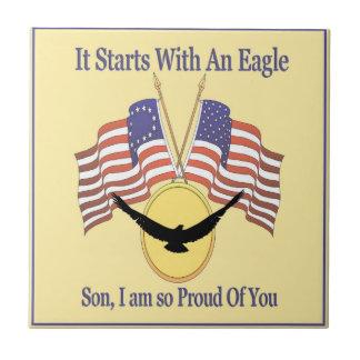 Orgullo de Eagle Azulejo Cuadrado Pequeño