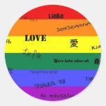 """Orgullo de GLBT: """"Amor"""" en muchas idiomas Pegatinas Redondas"""