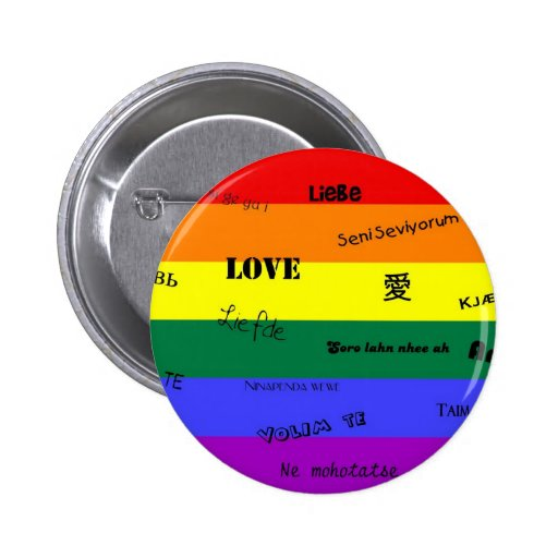 """Orgullo de GLBT: """"Amor"""" en muchas idiomas Pin Redondo De 2 Pulgadas"""