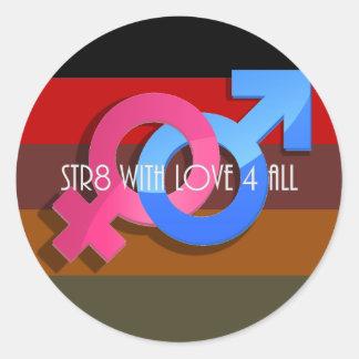 Orgullo de Hetero Str8 con el amor 4 todos Pegatina Redonda