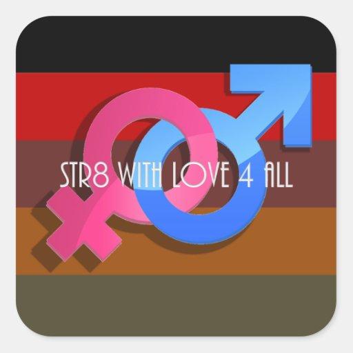 Orgullo de Hetero: Str8 con el amor 4 todos Pegatina Cuadrada