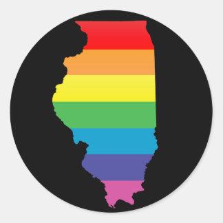 orgullo de Illinois Pegatina Redonda