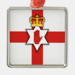 Orgullo de Irlanda del Norte Adorno Cuadrado Plateado