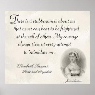 Orgullo de Jane Austen y cita de la terquedad del Impresiones
