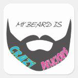 Orgullo de la barba pegatina cuadrada