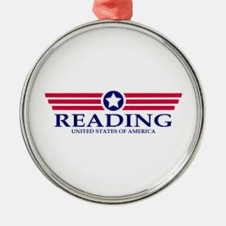 Orgullo de la lectura adorno redondo plateado