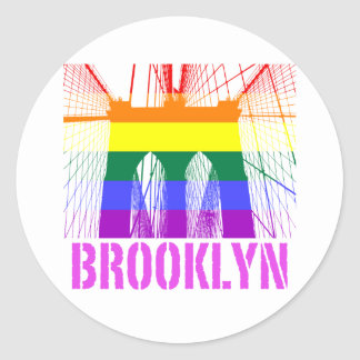 Orgullo de la silueta del puente de Brooklyn Pegatina Redonda