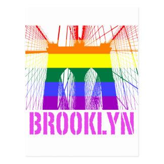 Orgullo de la silueta del puente de Brooklyn Tarjeta Postal