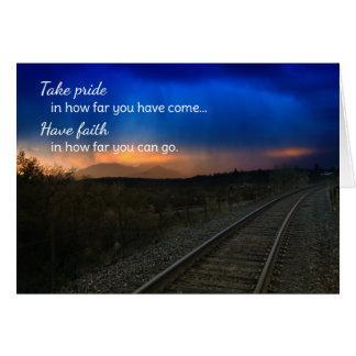 Orgullo de la toma en hasta dónde… de motivación tarjeta de felicitación