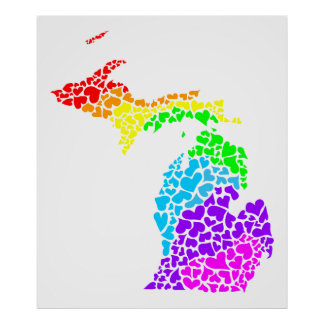 orgullo de Michigan corazones del arco iris Poster