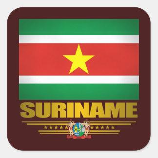 """Orgullo de Suriname "" Pegatina Cuadrada"