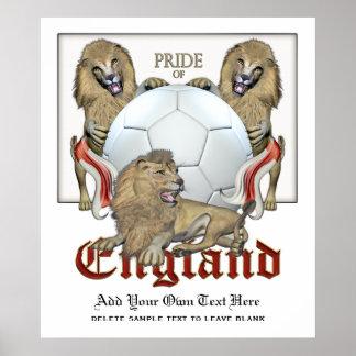 Orgullo de tres leones del fútbol de Inglaterra Impresiones