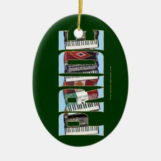 ORGULLO del acordeón Adorno Navideño Ovalado De Cerámica