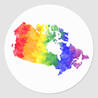 Orgullo del arco iris de la hoja de arce de Canadá Pegatina Redonda