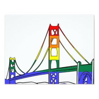 """Orgullo del arco iris de puente Golden Gate Invitación 4.25"""" X 5.5"""""""