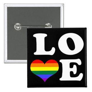 Orgullo del arco iris del amor pin cuadrada 5 cm