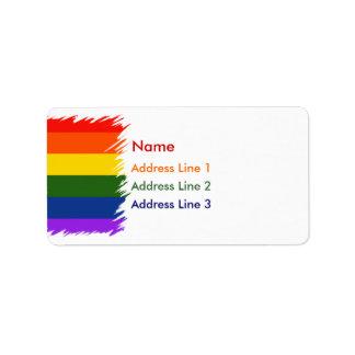 Orgullo del arco iris etiqueta de dirección