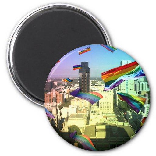 Orgullo del arco iris sobre Sacramento Imán Redondo 5 Cm