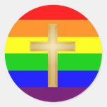 Orgullo del cristiano de GLBT Pegatina Redonda