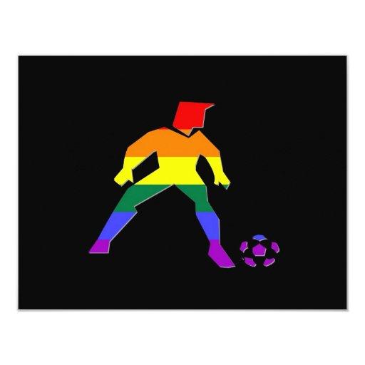 """Orgullo del fútbol de GLBT Invitación 4.25"""" X 5.5"""""""