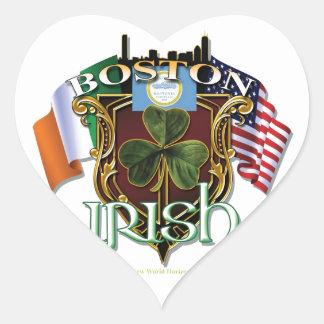 Orgullo del irlandés de Boston Pegatina En Forma De Corazón