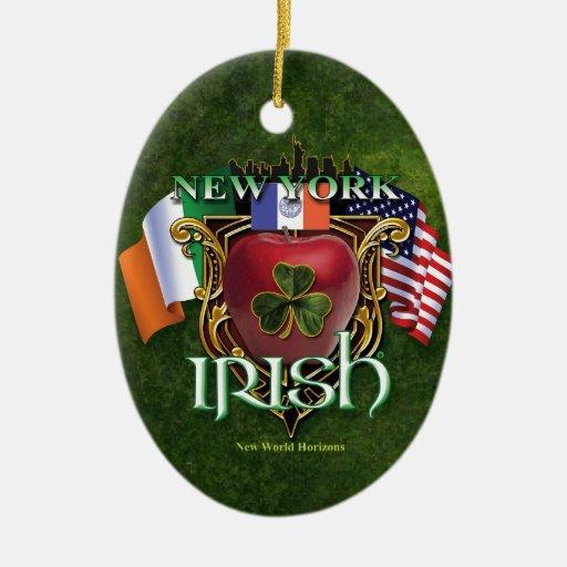 Orgullo del irlandés de Nueva York Adorno Ovalado De Cerámica