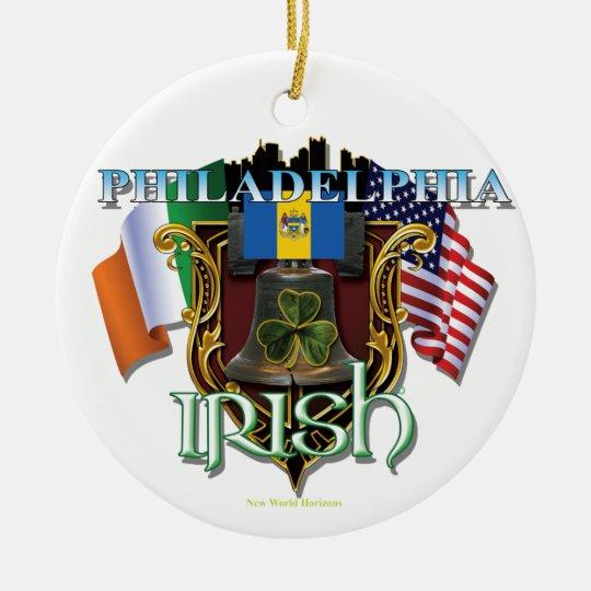 Orgullo del irlandés de Philadelphia Adorno Navideño Redondo De Cerámica
